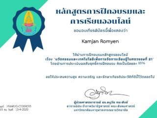 Certificate for Kamjan Romyen for ข้อมูลผู้ตอบแบบทดสอบออนไลน์